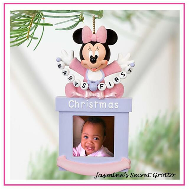 DISNEY BABY FIRST CHRISTMAS MINNIE MOUSE PHOTO FRAME CHRISTMAS ORNAMENT BNWT
