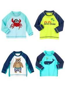 NWT Gymboree Boys Blue Swim Shop Rash Guard Top Shirt 3t