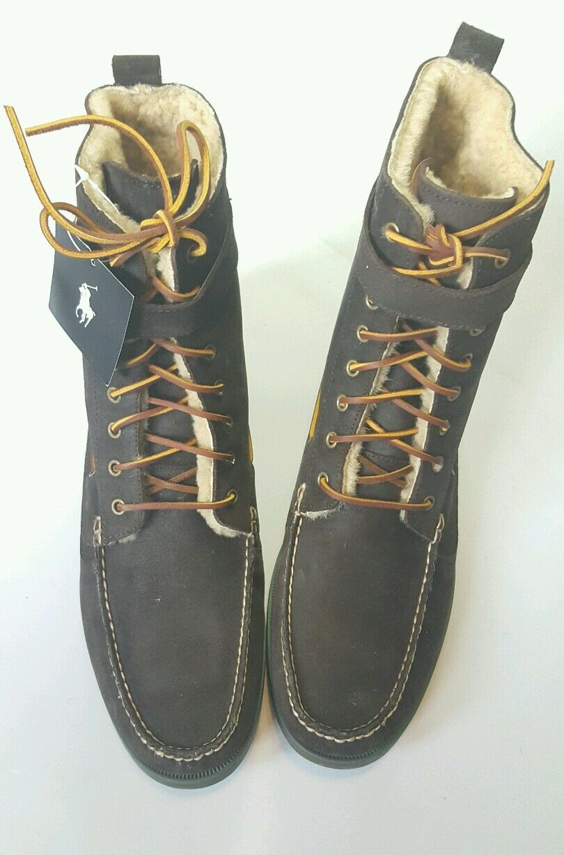 RALPH LAUREN BRENTWOOD DARK BROWN OILED SUEDE PULL UP LACE UP BOOT SIZE US 14D