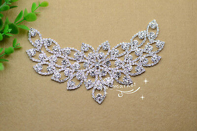 Bridal Sew On Dress Applique AB Crystal Rhinestone Wedding Supply Trim A488