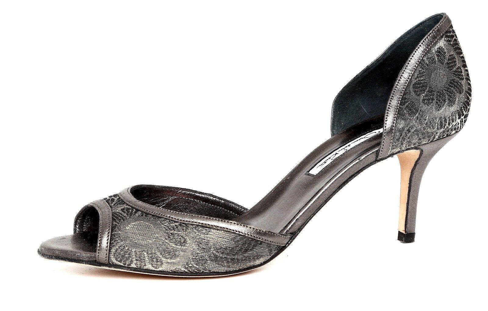 Oscar De La Renta Slip On Leather Pump Metallic femmes Sz 39 1676
