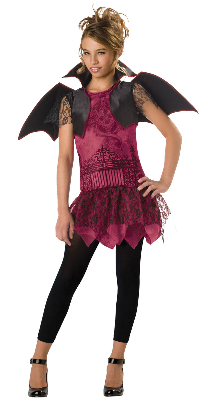 Twilight Trickster Tween Child Costume Dress Wings Scary Theme Party Halloween