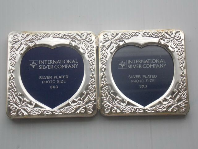 International Silver Company Silver Plated Double Picture Frames 3x3
