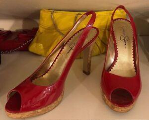 1f04c5cc8798 JESSICA SIMPSON Women Sling-Back Size 8.5 Patent Leather Cork Slim ...