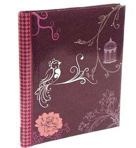 Purpura-Pajaro-Vintage-Encuadernado-Espiral-album-fotos-autoadhesivo-40-Lados