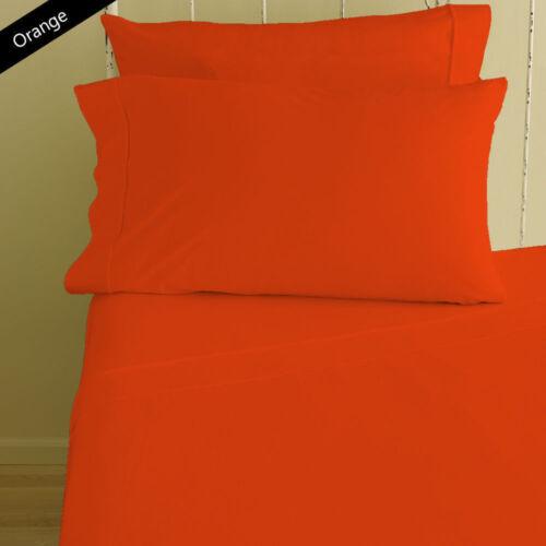 Orange Solid Sheet Set Choose Sizes 8 15 Extra Deep Pkt 1000 TC 12 10