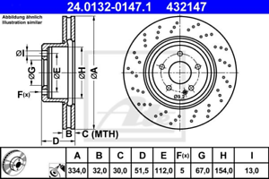 2 Stück ATE 24.0132-0147.1 Bremsscheibe