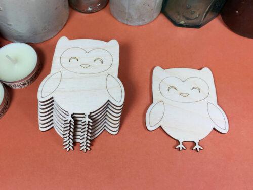 WOODEN SLEEPY OWL Shapes 7.5cm (x10) laser cut wood cutouts crafts blank shape