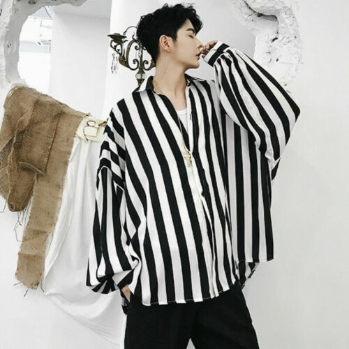 Men Batwing Sleeve Shirt Tops Baggy Oversized Casual Striped Gothic Punk Fashion