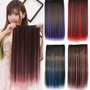 HD-CO-Mixed-Color-Clip-in-Straight-Long-Hair-Extension-Cosplay-Party-Women-Hai