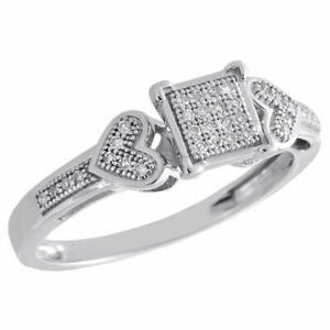 1//10 CT Round White Diamond Bypass Heart Promise Ring 14k Yellow Gold Over