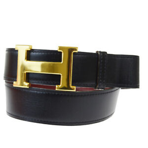 Authentic HERMES Constance H Buckle Belt Leather Black Brown #70 France 61EY145