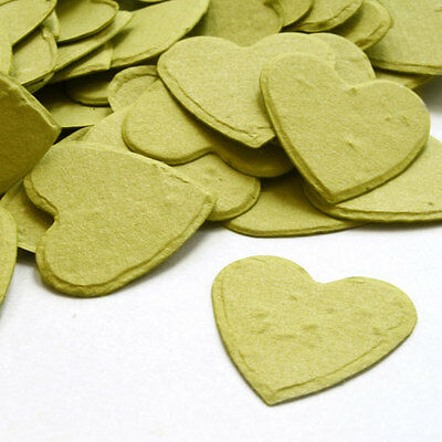 Olive Green Heart Shaped Wildflower Seed Recycled Paper Eco Plantable Confetti