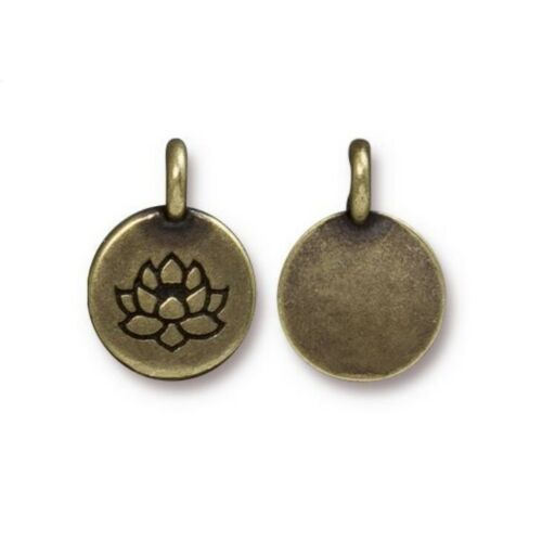 TierraCast Lotus Charms Antique Brass 4 to 20 Bronze Tiny Round Drops 16.6mm