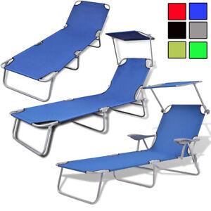 Sonnenliege Klappbar Garten Lounge Liege Liegestuhl Relaxliege Dach Armlehnen Ebay