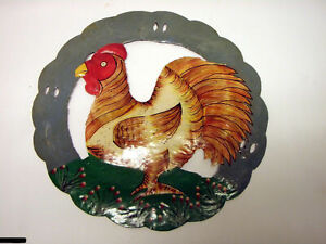 Rooster Farm Hand Painted Bird Metal Circle Wall Art 10