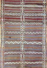 Special Sumak - 1930s Vintage Flatweave Kilim -Tribal Moroccan Rug - 3.6 x 6 ft.
