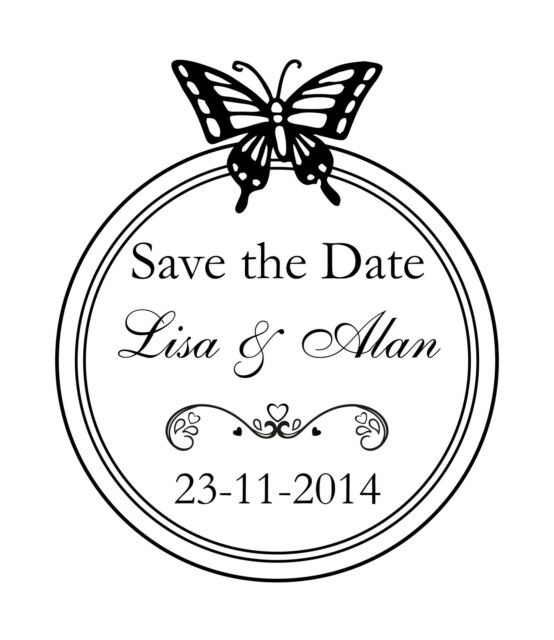 PERSONALISED SAVE THE DATE RUBBER STAMP 11622 WEDDING ENGAGEMENT PARTY INVITE