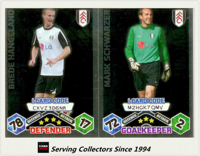 2009-10 Match Attax Card Game I-Card Foil FULHAM Schwarzer / Hangeland (2)
