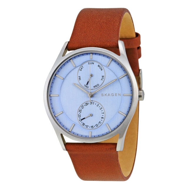 Skagen Holst Blue Dial Dark Brown Leather Strap Mens Watch SKW6178