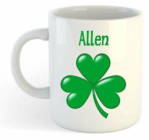 Allen - Trèfle Nom Personnalisé Tasse - Irlandais st Patrick Cadeau 5vefbxyG-09084255-436707526