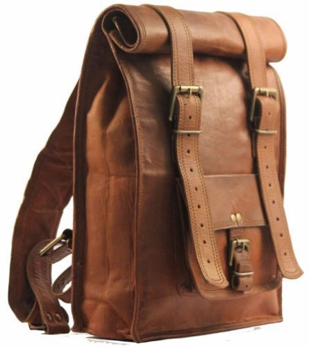 Leather Roll Bag S Men Backpack Genuine Travel Top Rucksack New Brown Women