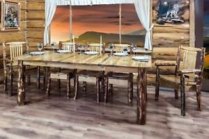 LOG Kitchen Table Chairs Set Amish Made Extendable Tables ...