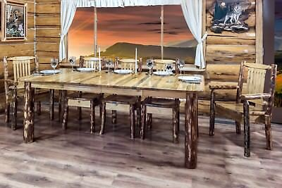 LOG Kitchen Table Chairs Set Amish Made Extendable Tables Rustic Lodge  Style | eBay