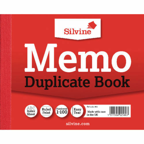 DUPLICATE MEMO BOOK Ruled and Perforated Invoice 100 Pages 50 Sheets 616