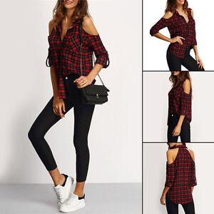 Damas-a-cuadros-camisa-blusa-de-manga-larga-con-un-solo-hombro-Tops-Algodon