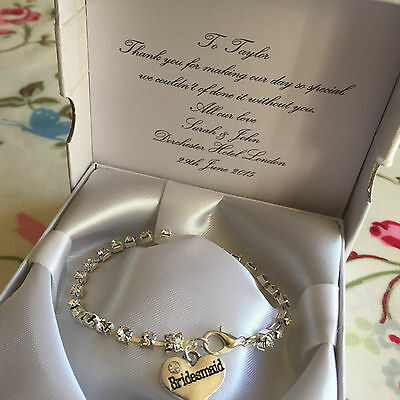 Charm bracelet crystal rhinestones heart charm bridesmaid gift thank you wedding