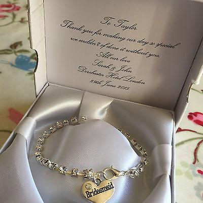 Charm bracelet crystal rhinestones heart charm bridesmaid gift thank you wedding