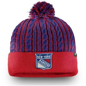New-York-Rangers-Fanatics-Branded-Women-039-s-Iconic-Ace-Cuffed-Knit-Hat-with-Pom