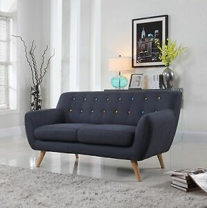 Image Is Loading Modern Mid Century Dark Grey W Color Buttons