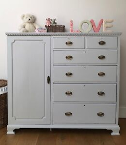 Details About Beautiful Bedroom Chest Of Drawers With Wardrobe Nursery Furniture Hand Painted