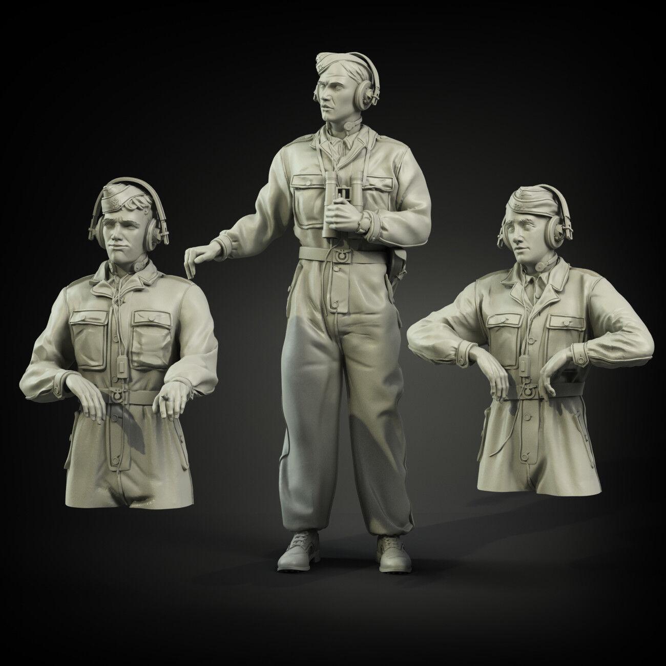 1   35 escala resina modelismo kit cats waffen - ss cammo eur tank crew (3 figuras