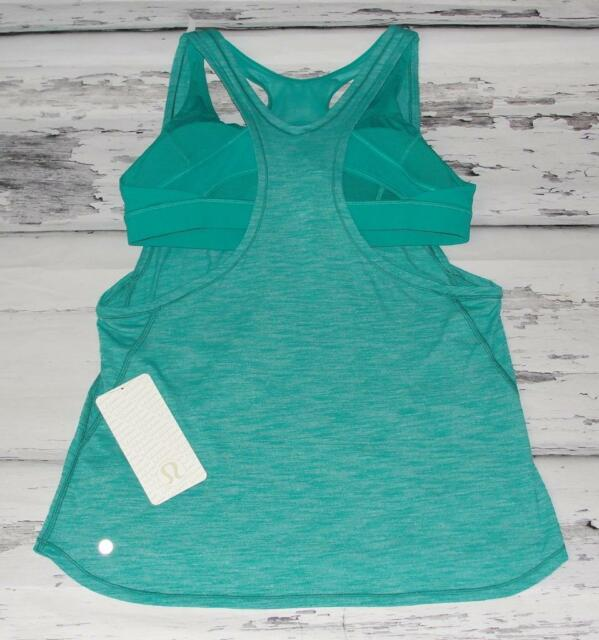 LULULEMON~NWT~HEATHERED *GLIDE AND STRIDE TANK* ATTACHED BRA~TENNIS GYM TOP~12