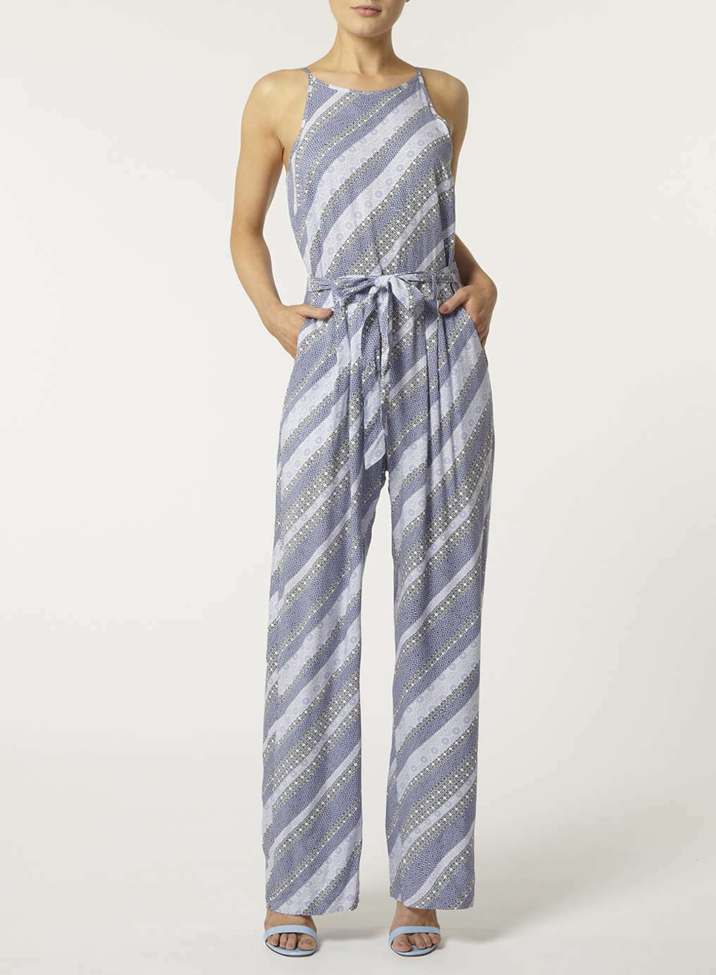 Dgoldthy Perkins  Printed Strappy Jumpsuit 22 bluee Multi