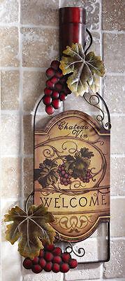 Wine Bottle Art Vineyard Grape Wall Plaque Sign Winery Bar Kitchen Decor NEW