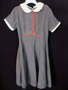 RARE-DEADSTOCK-1960-039-S-GIRLS-GREY-RAYON-DRESS-SIZE-5-6