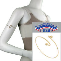 Usa Made Armlet Gold Tone Upper Arm Cuff Band Bracelet Single Ball End on Sale