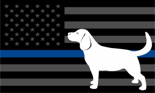 Thin Blue Line Labrador Tactical Police Law Enforcement Reflective Window Decal