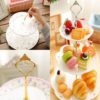 hot 1 Sets 2 or 3 Tier Cake Plate Stand Handle Crown Fitting Metal Wedding Party