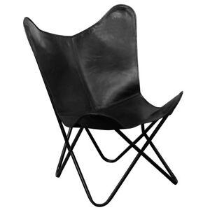 vidaxl echt leder sessel butterfly schmetterling relaxstuhl st hle retro schwarz ebay. Black Bedroom Furniture Sets. Home Design Ideas