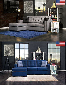 Contemporary Style MAde In USA Gray & Blue Fabric Sectional Sofa Set 2 Colors