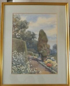 Antique-Italy-Landscape-Watercolour-Painting-by-Ina-Clogstoun