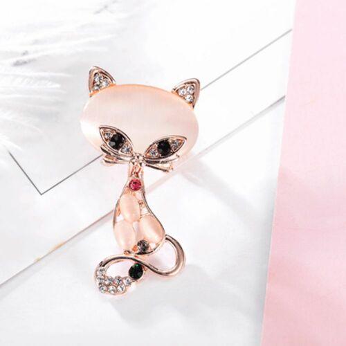 Vintage Women Crystal Opal Stone Cat Brooch Pin Scarf Clip Wedding Jewelry