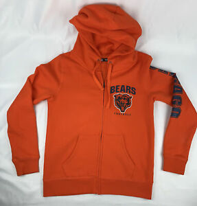 Chicago Bears NFL Men's Orange Full Zip Hoodie Sweatshirt Size Large Football