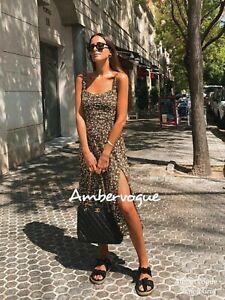 Zara-New-F-W-Green-Printed-Midi-Dress-Side-Slit-Size-XS-S-L