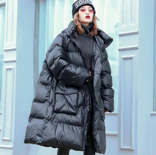Oversize Damen Cotton Down Kapuzejacken Winter Warm Parka Lange Outwear Mäntel
